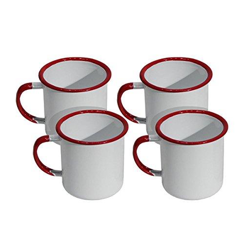 Set of Four Red & White Enamel Mug Coffee Cups