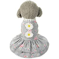 Voberry Dog Cat Bow Tutu Lace Dress Pet Puppy Flower Skirt Apparel Clothes (S, Gray)