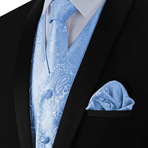 WULFUL Men's 3pc Paisley Vest Necktie Pocket Square Set for Suit or Tuxedo Light Blue ()
