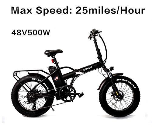 "SOHOO 48V500W10AH 20"" Folding Fat Tire Electric Bike Mountain Bicycle Beach Cruiser EBike"