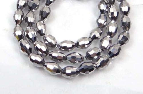 (ShopForAllYou Decoration Beads 8x6mm Czech Glass Firepolish Faceted Barrel Beads - Choose Color (24) (Metallic Silver))