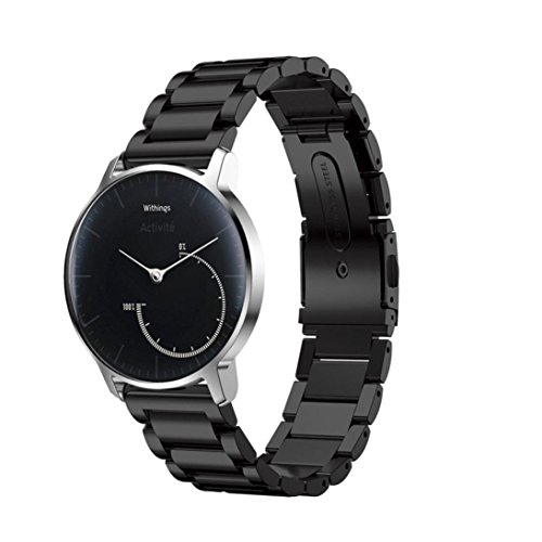 Balerion Band for Nokia steel ,Withings Steel HR 36MM,Activité Sapphire and Activité Steel,Adjustable Stainless Steel Band with Durable Folding Clasp for Withings Steel HR 36MM--Steel Black 36MM