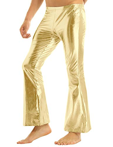 Dance Costumes Bell Bottoms - YiZYiF Men's PVC Leather 60s 70s