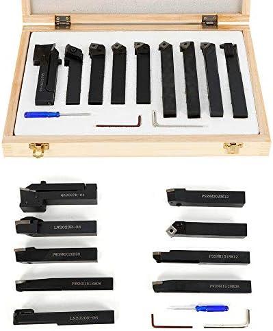 BTdahong 9 tlg 20mm Drehstahl Kit Drehstahl Klemmhalter CNC Drehwerkzeug Drehmaschine Zubehör Satz Hartmetall + Box, Schaft 20x20 mm