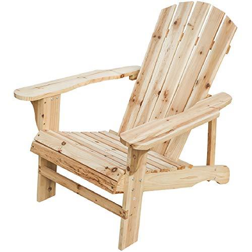 LOKATSE HOME Outdoor Pario Garden Wood Adirondack Chair Large Natural ()