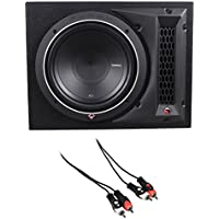 Rockford Fosgate P1-1X10 10 500w Loaded Car Subwoofer + Vented Box + RCA Cable