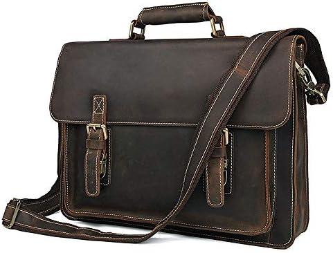 メンズブリーフケース 紳士用バッグレトロブリーフケースヨーロッパやアメリカのビジネスバッグ大容量のショルダーバッグメッセンジャーバッグ 便利で持ち運びが簡単 (Color : Dark brown, Size : 39.5x9x29cm)