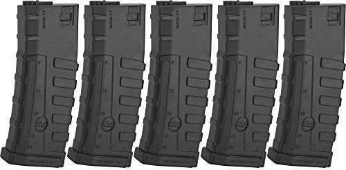 (Evike Command Arms CAA Licensed Magazine for M4 M16 AEG Airsoft Rifles by King Arms (Type: 140rd Mid-Cap/Black / 5 Pack))