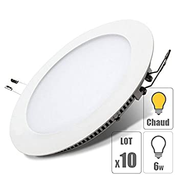 26aaaf799f3ef lot x10 Spot led downlight rond 6w encastrable slim blanc chaud pour  plafonnier extra plat TechBox