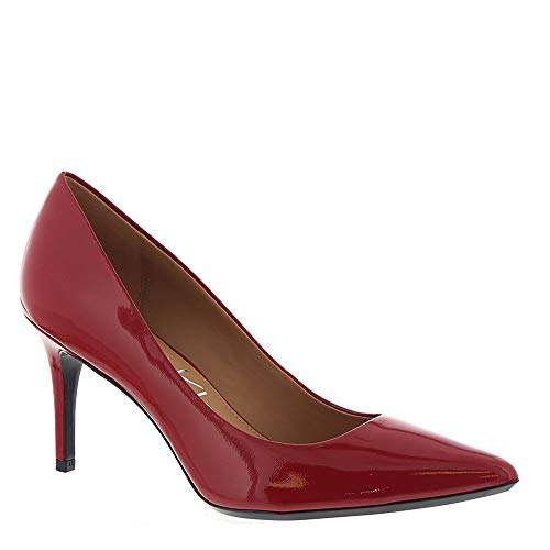 (Calvin Klein Womens Gayle Pointed Toe Classic Pumps, Crimson Red, Size 9.5)