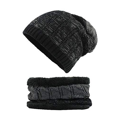 iDWZA Man Women 2-Pieces Villus Thicker Winter Beanie Hat Scarf SetKnit Hat Thick Knit -