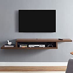 Martin Furniture IMAS370C Asymmetrical Floating Wall Mounted TV Console, 72inch, Columbian Walnut