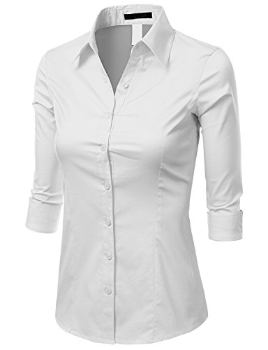 Doublju womens 3 4 sleeve cotton button down collared for Womens white button down shirt