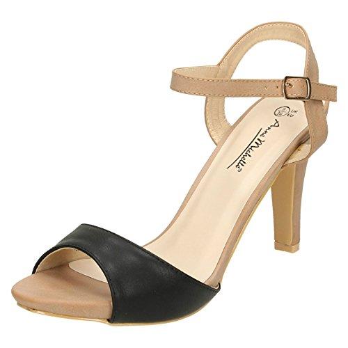 Ladies L3402 Buckled Ankle Strap Single Toe Bar High Heel Sandal Multicoloured vRW89zC