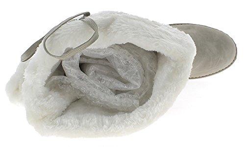 ChaussMoi Bottes Femme Grande Taille Grises à Talon DE 2,5cm Fourrées avec Pompons