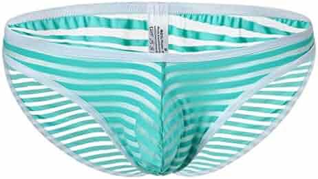 870f542dcff8 Haozin Men's Sexy Briefs Stripe Underwear Soft Breathable Knickers Short  Tanga