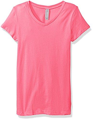 Clementine Apparel Girls' Big Everyday Short-Sleeve Princess V-Neck Tee, Hot Pink, Medium
