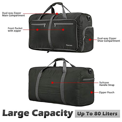 Gonex 80L Packable Travel Duffle Bag, Large Lightweight Luggage Duffel (Gray)