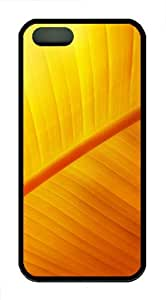 covers underwater yellow leave vains TPU Black Case for iphon 5/5S