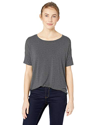 - Amazon Brand - Daily Ritual Women's Jersey Rib Trim Drop-Shoulder Short-Sleeve Scoop Top, Charcoal Heather Grey, Small