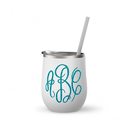 Monogrammed Stainless Steel Wine Tumbler / 12oz Mint or White/with Rose Gold Metallic or Glitter Vinyl ()