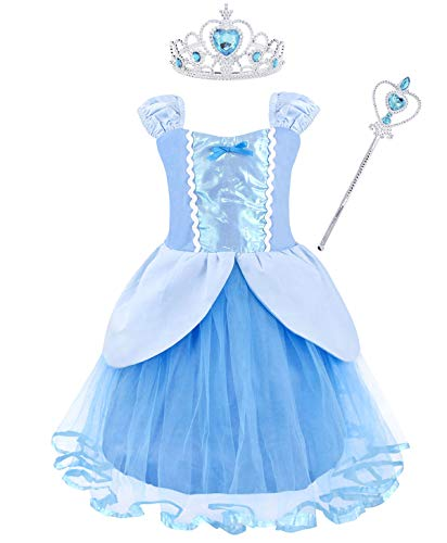 Jurebecia Cinderella Dress for Toddler Girls Halloween Costume Birthday Party Outfit Size 10 -