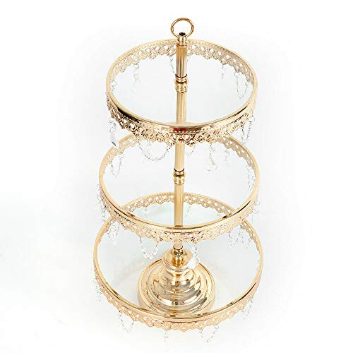 - 3 Tier Cake Stand, Gold Plated Round Glass Top Plate Metal Dessert Cupcake Pedestal Wedding Party Display Tower with Crystals Dangles (US Shipping)