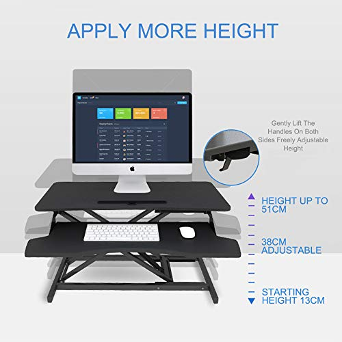 LIULIFE Laptop Stand for Desk Sit Stand Height Adjustable Desk Computer Workstation Standing Desk Converter with Keyboard Tray,White-WithKeyboardBoard by LIULIFE (Image #4)