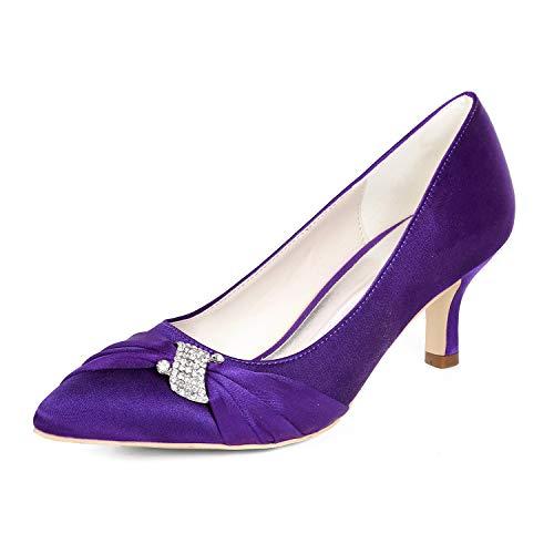 LLBubble Kitten Heels Bridal Pumps Pointed Toe Satin Women Dress Shoes-Purple 1-10.5 ()