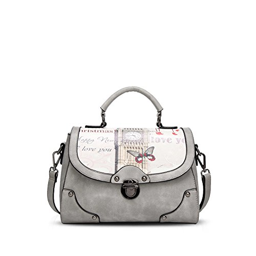 59d50b86cd5 NICOLE DORIS Elegant Tote Handbag Crossbody Bag Shoulder Bag Women Purse PU  Leather Gray