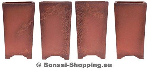 Bonsai - hohe Kaskadenschale mit Motiven 20 x 20 x 35,5 cm aus Yixing 50129