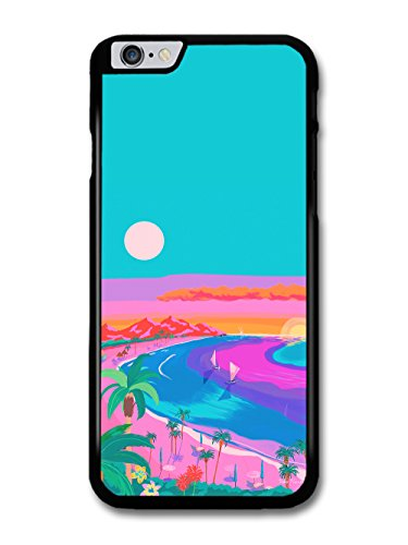 Beach Summer Sunset Palm Trees Illustration Blue and Pink Colours coque pour iPhone 6 Plus 6S Plus