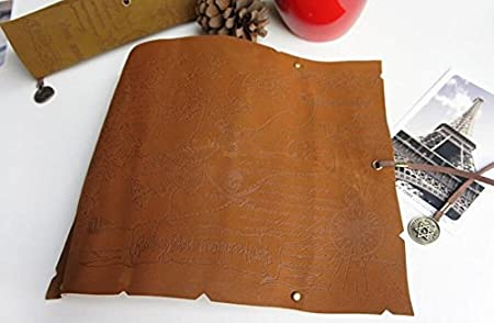 Coffee Cosanter Pencil Pouch Rolled Retro Pirate Treasure Map Style Leather Pencil Case Bag Holder