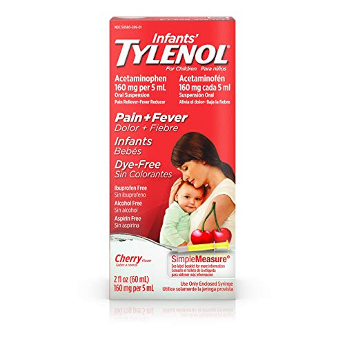 Infants' Tylenol Liquid Medicine with Acetaminophen, Pain + Fever Relief, Dye-Free Cherry, 2 fl. oz