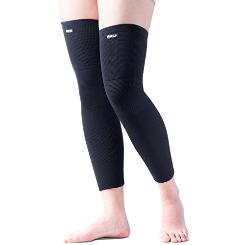 FREETOO Sports Non Slip Compression Knee Leg Sleeves Support (1 Pair) for Men & Women, Pain Relief/Shin Splints and Muscle Fatigue for Football Basketball Running Black L