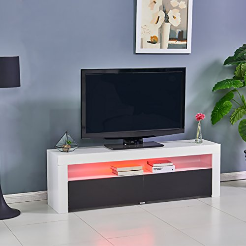 ospius Modern LED Lighting Color Changing TV Stand TV Cabinet In Living Room For 71-inch TV screens With High Capacity Storage(Black&White)