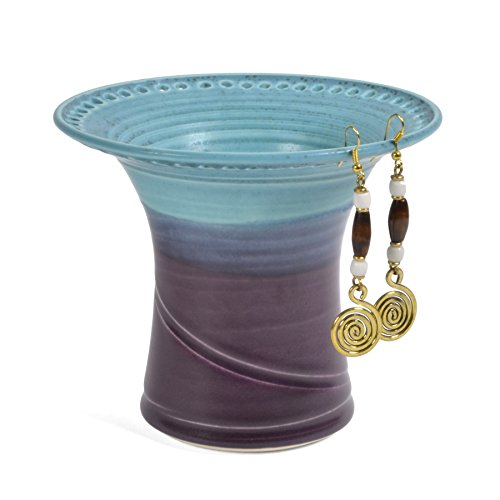 Barb Lund Pottery Earring Holder, Turquoise/Amethyst (Ceramic Turquoise Bowl)