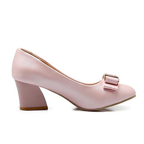Damen Weiches Material Spitz Zehe Ziehen auf Eingelegt Pumps Schuhe, Rot, 33 AllhqFashion