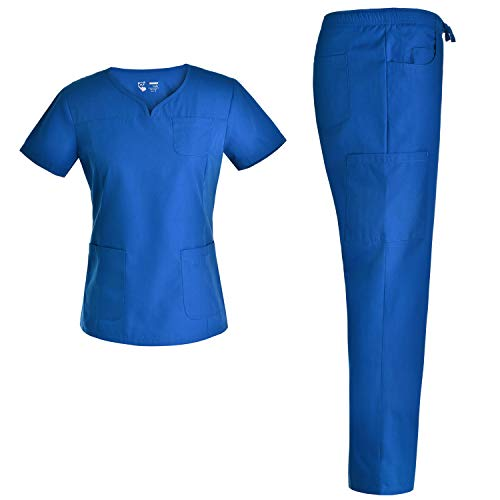 2-Pocket Notch Neck Women Nursing Scrubs Set - Pandamed Nurse Scrubs Medical Uniforms Workwear Set for Women JY3302 S