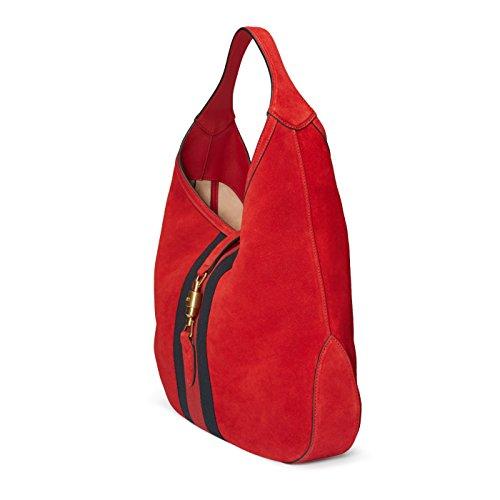 18d1cd76127 Gucci Red Soft Suede Web Stripe Jackie Shoulder Hobo Bag - Luxury ...