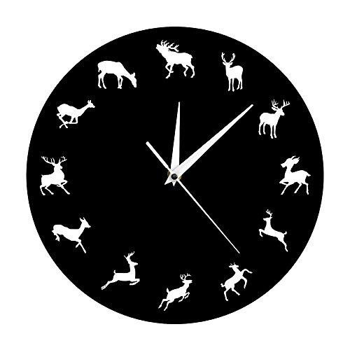 The Geeky Days Wild Woodland Creatures Wall Decor Wild Animals Moose Wall Clock Wild and Free Deer Modern Wall Clock Deer Antlers Hunters Gift
