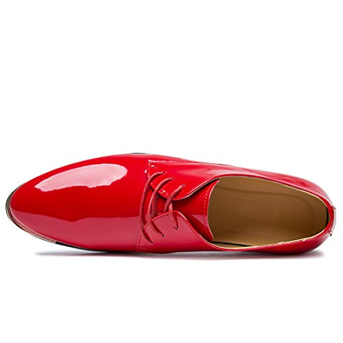 Black Flats Lace Brown Shoes Patent Colours up Wedding Oxford Italy Red Leather Men Glossy Solid Red Dress TwqEz4