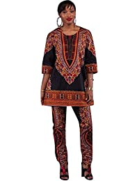 African Women Fashion Designed Half Sleeve Casual Dashiki Shirt and Pants Set Outfit Suit