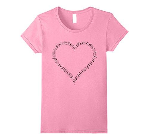 Note Womens Pink T-shirt (Womens Music Notes Heart t-shirt I Love Music Musician Play Medium Pink)