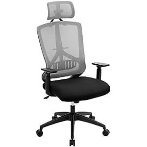 Songmics silla de oficina de malla giratoria con for Sillas ergonomicas con apoyo lumbar