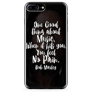 iPhone 8 Plus Transparent Edge Phone case Typography Phone Case Bob Marley Phone Case Music iPhone 8 Plus Cover with Transparent Frame