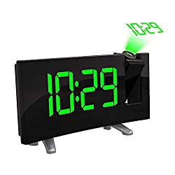 ONEVER Projection Alarm Clock, Digital Alarm Clock FM Radio with Time Projection, Dual Alarm, USB Charging Port for Smartphones, Bedroom, Kitchen, Kids