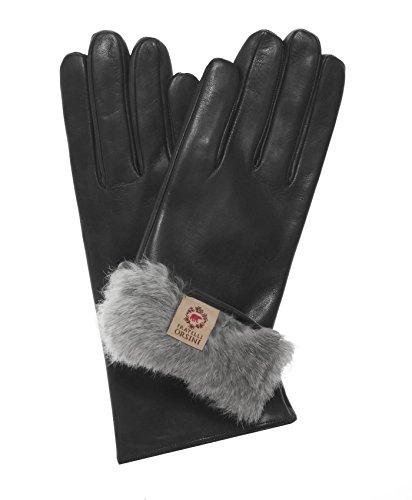 Fratelli Orsini Women's Italian Natural Rabbit Fur Gloves Size 7 Color Black by Fratelli Orsini