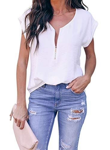 ZKESS Womens Casual Loose Half Zipper Up Short Sleeve Tops V Neck Tunic Blouse Tshirts Summer Tops Work White Small Size (Casual Chiffon Women Fashion)