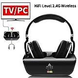 Wireless TV Headphones, Artiste ADH300 2.4GHz Digital Over-Ear Stereo Headphone for TV 100ft